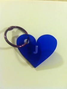 Heart Keychain that I made at the Fab Lab!  (Photo and design by Julie A. Smith)