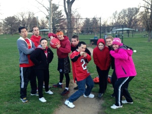 Our tough picture! (Small group Kickball! My team)